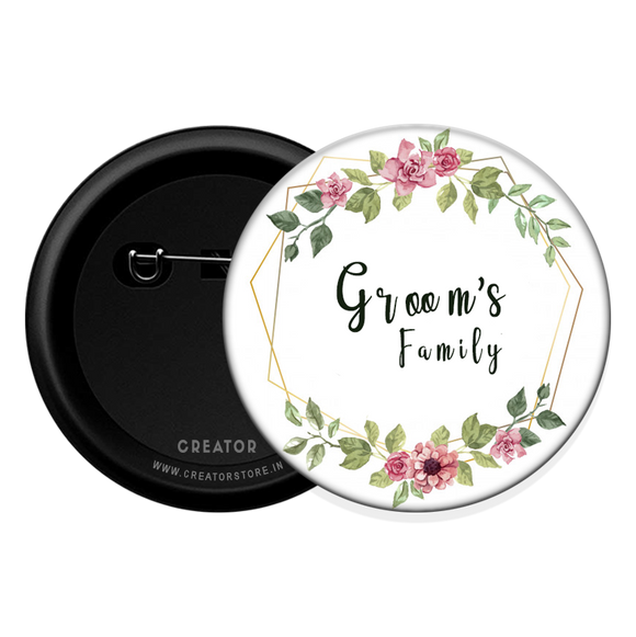 Groom's family Button Badge