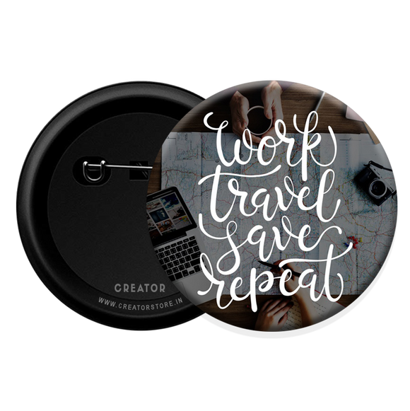 Work travel save repeat Button Badge