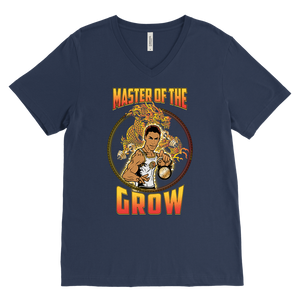 "teelaunch T-shirt Canvas Mens V-Neck / Navy / S Brute Leroy - ""Master Of The Grow"" 