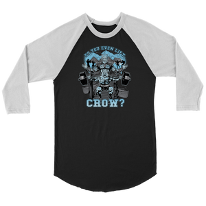teelaunch T-shirt Canvas Unisex 3/4 Raglan / Black/White / S Do You Even Lift, Crow? (Squat) | Three-Quarter Raglan