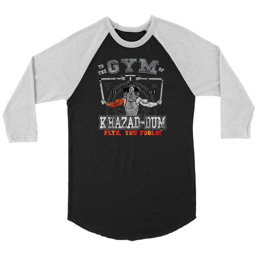 teelaunch T-shirt Canvas Unisex 3/4 Raglan / Black/White / S To The Gym Of Khazad-Dum (Arms Open) - Flye You Fools! | Three-Quarter Raglan