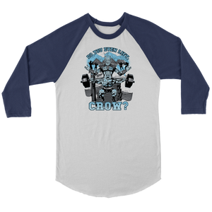 teelaunch T-shirt Canvas Unisex 3/4 Raglan / White/Navy / S Do You Even Lift, Crow? (Squat) | Three-Quarter Raglan