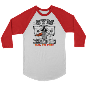 teelaunch T-shirt Canvas Unisex 3/4 Raglan / White/Red / S To The Gym Of Khazad-Dum (Arms Open) - Flye You Fools! | Three-Quarter Raglan