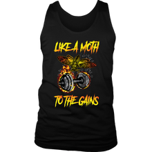 teelaunch T-shirt District Mens Tank / Black / S Like A Moth To The Gains | Mens Tank