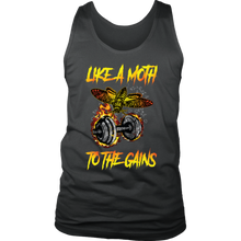 teelaunch T-shirt District Mens Tank / Charcoal / S Like A Moth To The Gains | Mens Tank