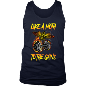 teelaunch T-shirt District Mens Tank / Navy / S Like A Moth To The Gains | Mens Tank