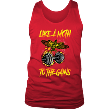 teelaunch T-shirt District Mens Tank / Red / S Like A Moth To The Gains | Mens Tank