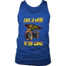teelaunch T-shirt District Mens Tank / Royal Blue / S Like A Moth To The Gains | Mens Tank