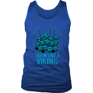 teelaunch T-shirt District Mens Tank / Royal Blue / S Train Like A Viking | Standard Tank Top