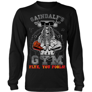 "teelaunch T-shirt Long Sleeve Shirt / Black / S Gaindalf's Gym (Arms Closed) - ""Flye, You Fools!"" 