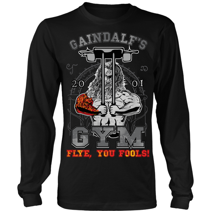 teelaunch T-shirt Long Sleeve Shirt / Black / S Gaindalf's Gym (Arms Closed) -