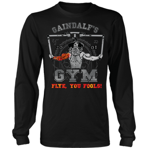 "teelaunch T-shirt Long Sleeve Shirt / Black / S Gaindalf's Gym (Arms Open) - ""Flye, You Fools!"" 