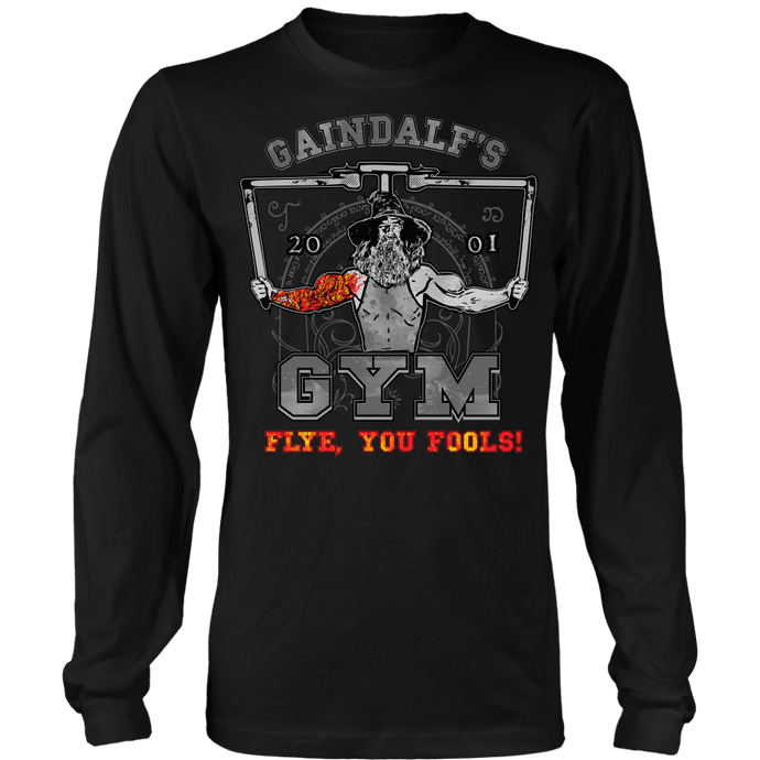 teelaunch T-shirt Long Sleeve Shirt / Black / S Gaindalf's Gym (Arms Open) -
