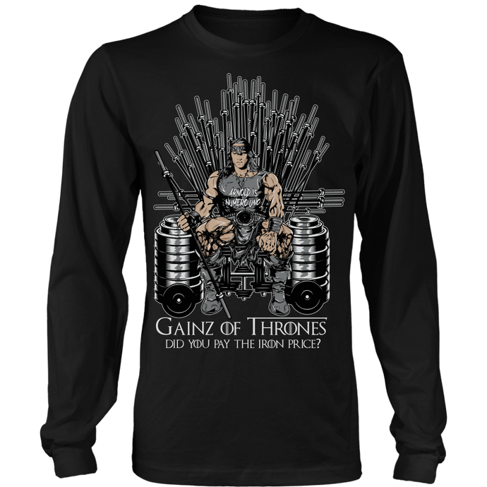 teelaunch T-shirt Long Sleeve Shirt / Black / S Gainz of Thrones | Long Sleeve Shirt (Oversized Print)