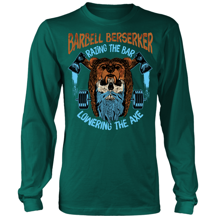 teelaunch T-shirt Long Sleeve Shirt / Dark Green / S Barbell Berserker | Long Sleeve (Oversized Print) Shirt