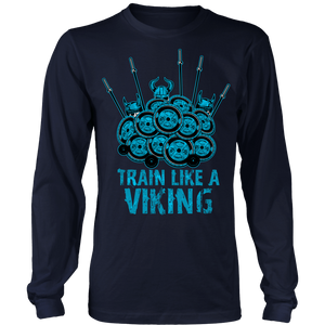 teelaunch T-shirt Long Sleeve Shirt / Navy / S Train Like A Viking | Long Sleeve Shirt (Oversized Print)