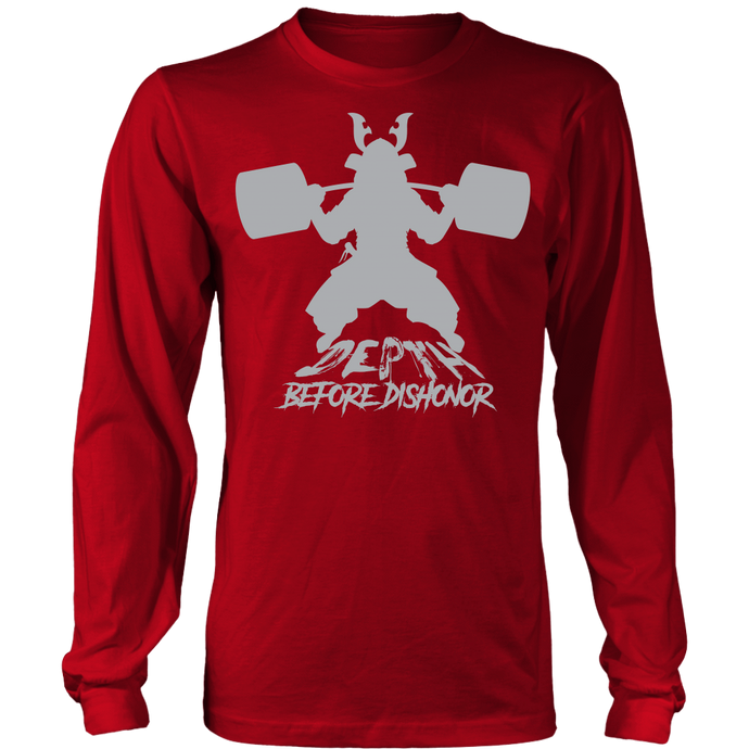 teelaunch T-shirt Long Sleeve Shirt / Red / S Depth Before Dishonor Silhouette | Long Sleeve Shirt (Oversized Print)