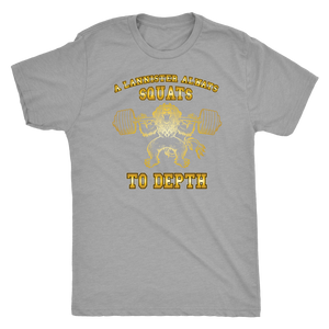 teelaunch T-shirt Next Level Mens Triblend / Premium Heather / S A Lannister Always Squats To Depth (Gold Lion) | Premium Triblend Shirt