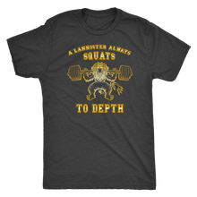 teelaunch T-shirt Next Level Mens Triblend / Vintage Black / S A Lannister Always Squats To Depth (Gold Lion) | Premium Triblend Shirt