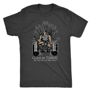 Game Of Thrones Workout Shirt Mens Triblend / Vintage Black / S Gainz of Thrones