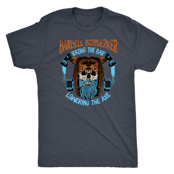 teelaunch T-shirt Next Level Mens Triblend / Vintage Navy / S Barbell Berserker | Premium Triblend Shirt