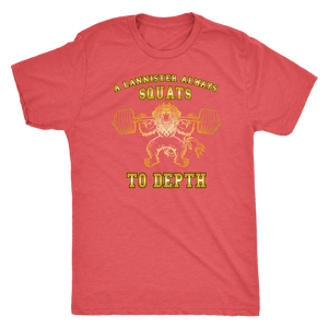 teelaunch T-shirt Next Level Mens Triblend / Vintage Red / S A Lannister Always Squats To Depth (Gold Lion) | Premium Triblend Shirt