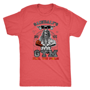 "teelaunch T-shirt Next Level Mens Triblend / Vintage Red / S Gaindalf's Gym (Arms Closed) - ""Flye, You Fools!"" 