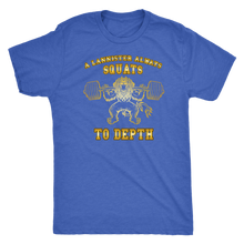 teelaunch T-shirt Next Level Mens Triblend / Vintage Royal / S A Lannister Always Squats To Depth (Gold Lion) | Premium Triblend Shirt