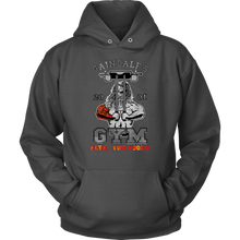 "teelaunch T-shirt Unisex Hoodie / Charcoal / S Gaindalf's Gym (Arms Closed) - ""Flye, You Fools!"" 