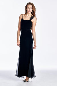 Women's Velvet Maxi Dress with Butterfly Strap