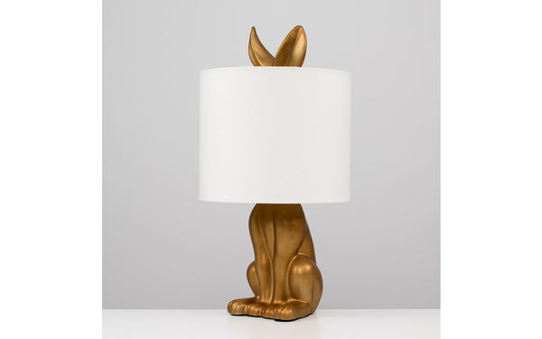 Ceramic Hare Table Lamp With White TC Shade