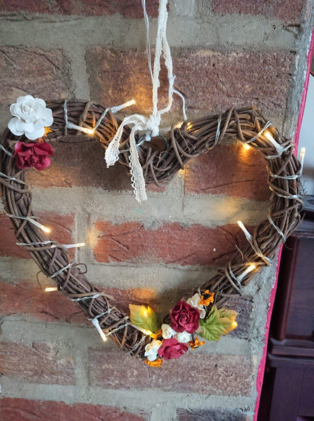 Decorated Wooden Wicker Heart