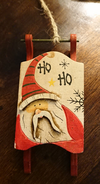 Wooden decorative Sled Decoration - HO! HO! HO!