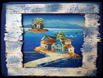 Medium Rustic Landscape Painting - Traditional Village Pier