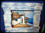 Medium Rustic Landscape Painting - Traditional Windmill
