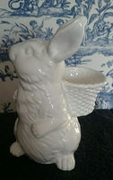 White Glazed Bunny Rabbit with Basket - Reduced