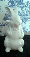 White Glazed Bunny Rabbit with Basket