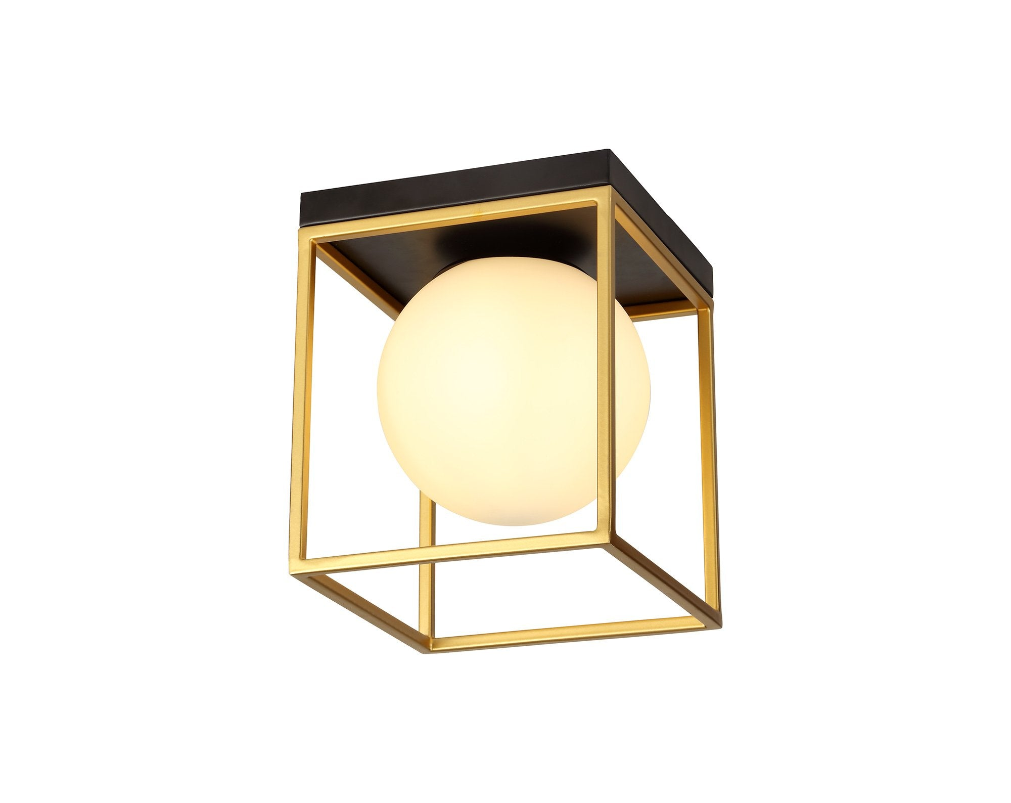 Hollywood Square Ceiling Flush, 1 Light E14, Matt Black/Canvasted Gold