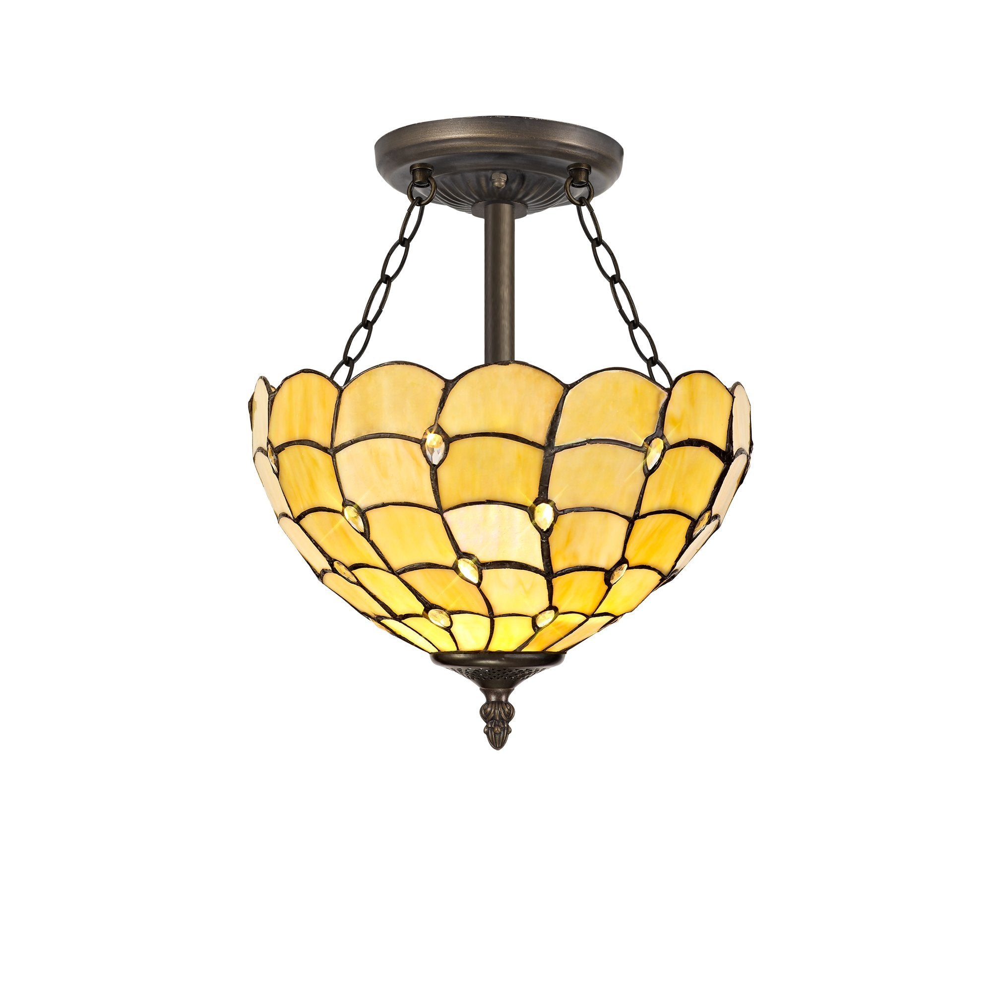 Helena 3 Light Semi Ceiling E27 With 30cm Tiffany Shade, Beige/Twirl Crystal/Aged Antique Brass