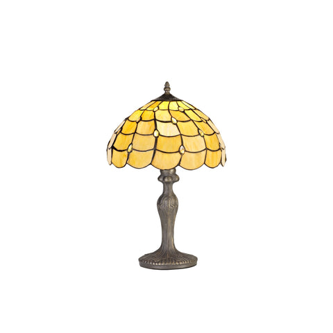 Helena 1 Light Coachd Table Lamp E27 With 30cm Tiffany Shade, Beige/Twirl Crystal/Aged Antique Brass