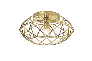 Gilt Flush Ceiling, 1 x E27, Polished Brass