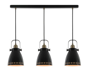 Factory Linear Pendant, 3 x E27, Matt Black/Antique Brass/Khaki