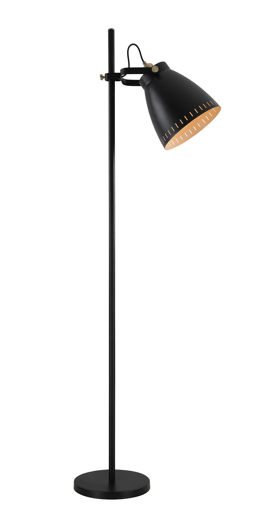 Factory Adjustable Floor Lamp, 1 x E27, Matt Black/Antique Brass/Khaki
