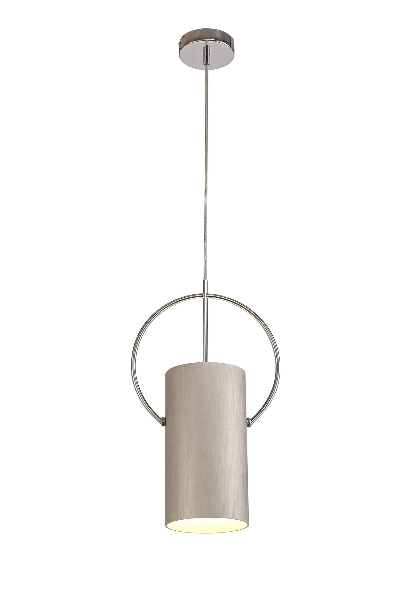Spruce Single Pendant, 1 x E27, Satin Nickel/Polished Chrome