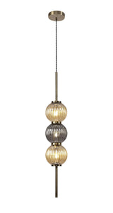 Lustre Pendant, 3 x G9, Antique Brass/Smoked & Hudson Glass