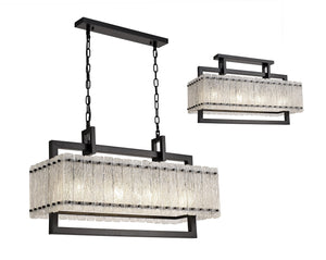 Fortress Medium Rectangular Pendant, 8 Light E27, Matt Black/Crystal Sand Glass