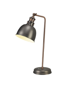 Ministry Adjustable Table Lamp, 1 x E27, Antique Silver/Copper/White