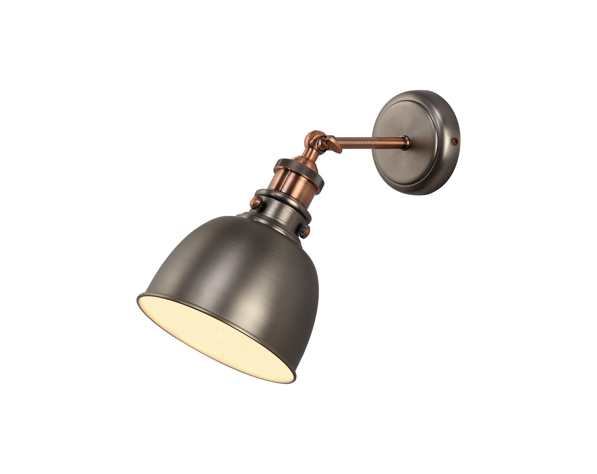 Ministry Adjustable Wall Lamp, 1 x E27, Antique Silver/Copper/White