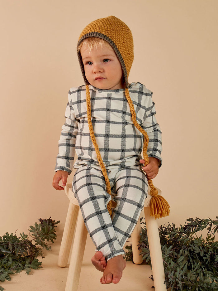 Herringbone Check L/S Jumpsuit