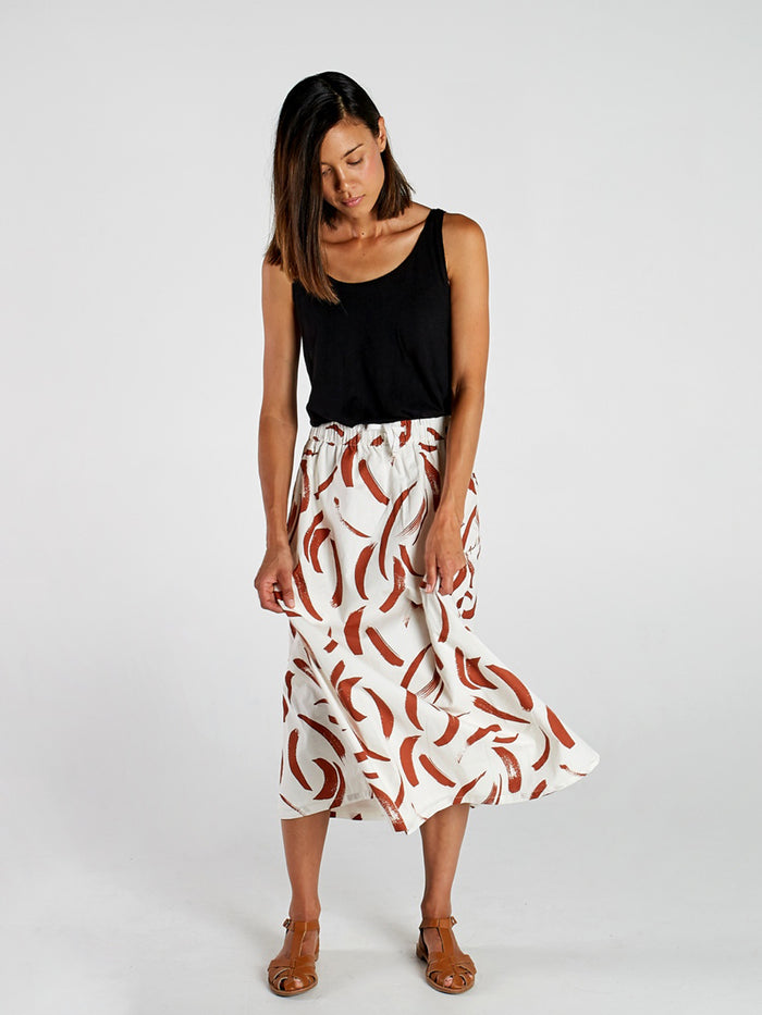 Painted Stripe Womens Midi Skirt